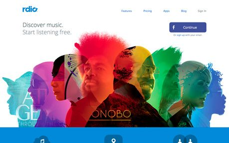 Rdio #webdesign #inspiration #UI #Clean #Illustration #CSS3 #Colorful #Design