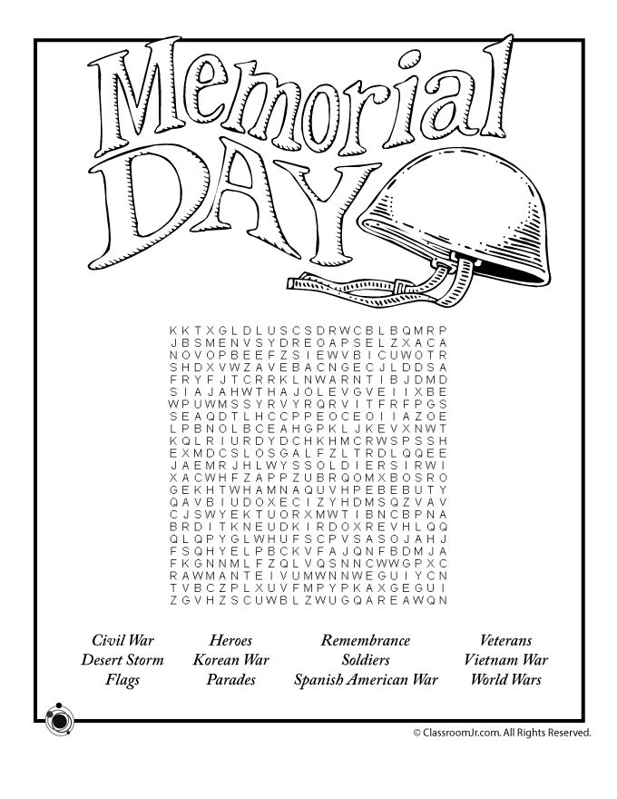 free memorial day printables for kids including worksheets a word search and a