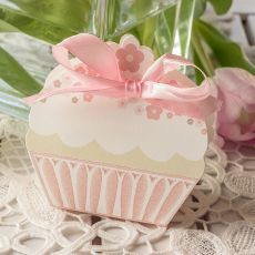Gastgeschenk Kartonage Cupcake rosé