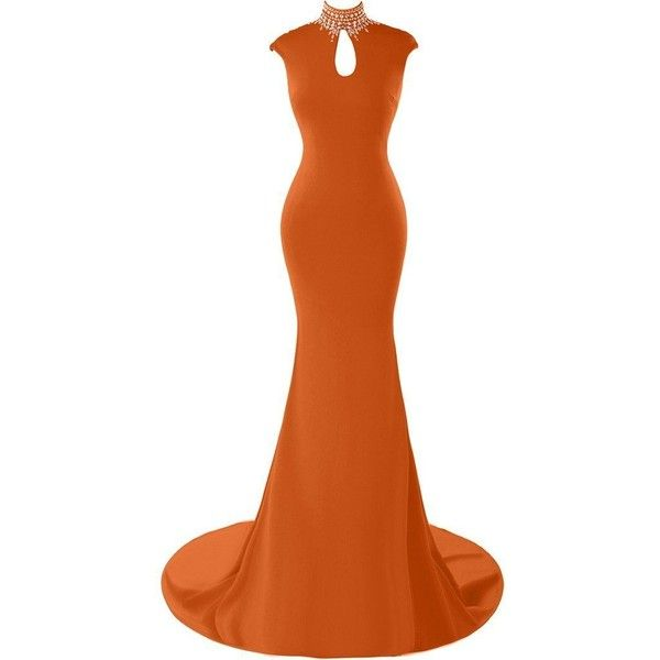 Amazon.com: Gorgeous Bridal Long High Collar Sparkling Back Evening... ($136) ❤ liked on Polyvore featuring dresses, sparkly cocktail dresses, orange dress, orange prom dresses, cocktail prom dress and orange cocktail dress