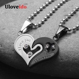 ULOVEIDO Men's Stainless Steel Chain Black Heart Love Necklaces for Couples