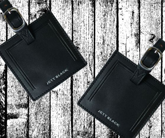 Mine and Yours - Jett Black  Leather Luggage Tags. Perfect Honeymoon Gift.