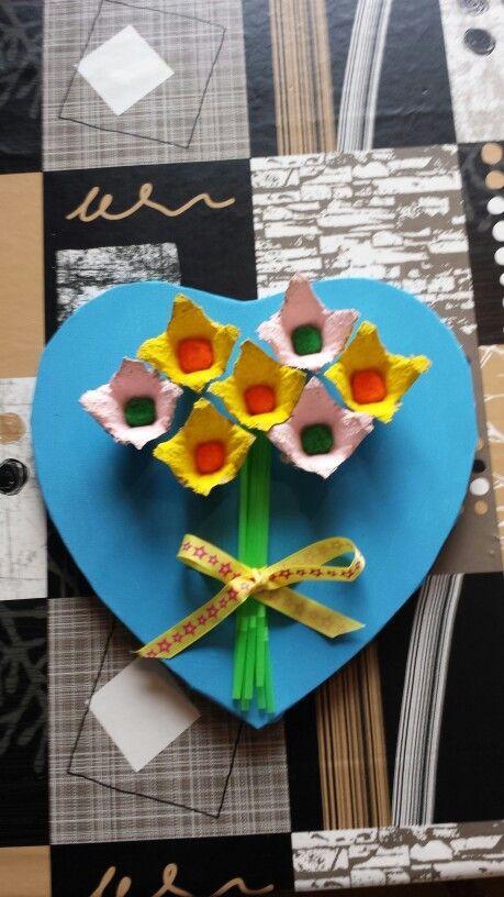 Canvas hart met bloemen.
