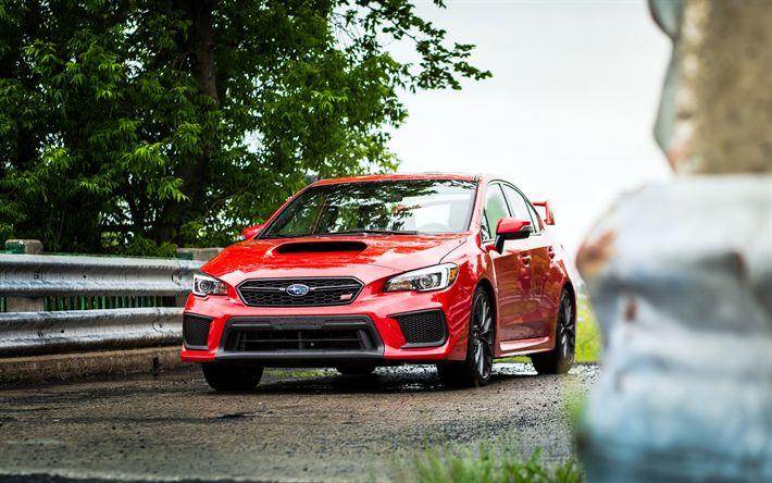 Descargar fondos de pantalla Subaru Impreza WRX STI, 2018, el sedán Deportivo, rojo Impreza, los coches Japoneses, Subaru