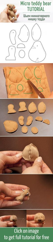 Секреты и правила создания миниатюрного мишки тедди: выкройка + процесс / Micro teddy bear tutorial + pattern