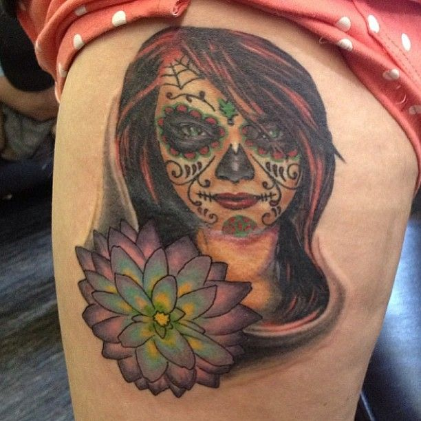 Dawn of dead woman flower unique artistic colorful leg tattoo ...