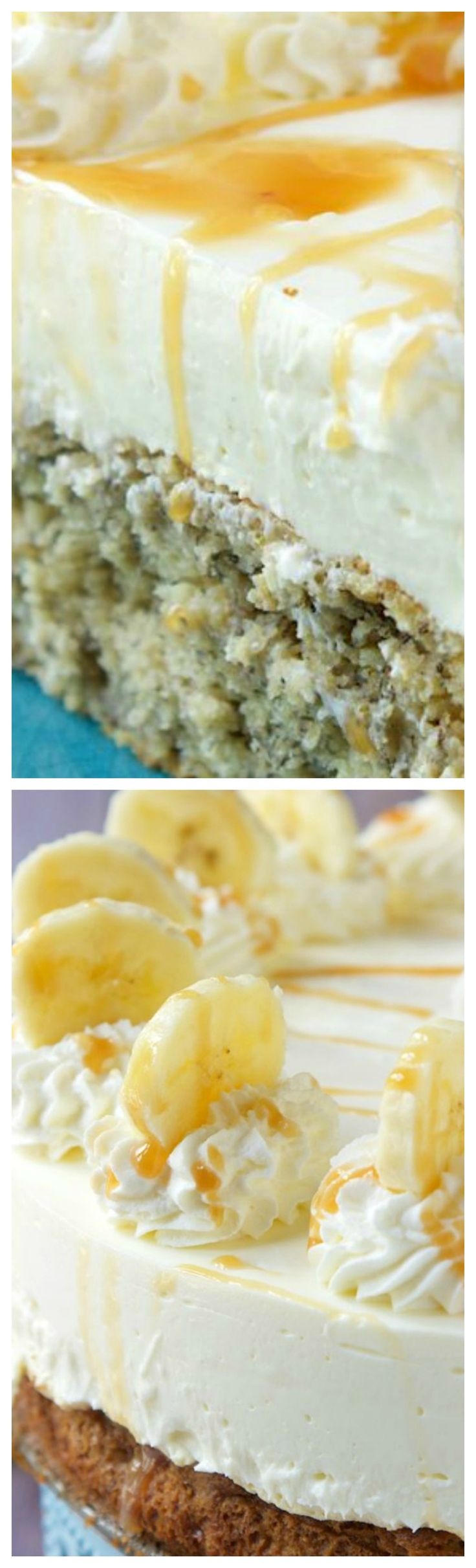 Banana Bread Bottom Cheesecake ~ Deliciously moist banana bread topped with a no bake cheesecake that is rich and creamy.
