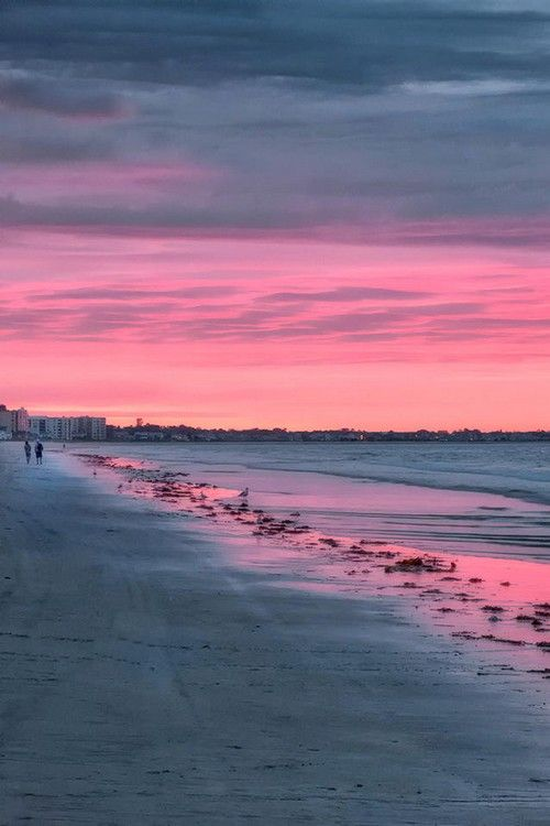 Beach Walk By Alan Borror Pink Sky Pink Sunset