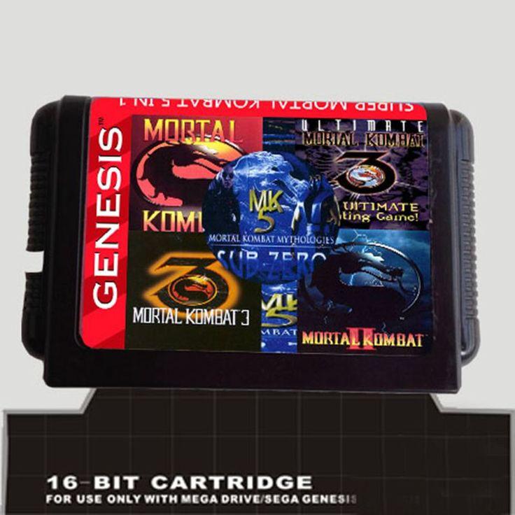 5 In 1 Game cartridge With Mortal Kombat 1 2 3 4 5  for 16 bit sega Megadrive Genesis Game player #Affiliate