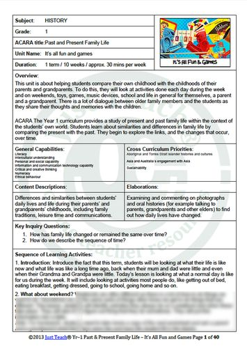 History Term Pack | YR1 | Past & Present Family Life. It's all fun & games. Grade Level: 1 Duration: 1 term / 10 weeks / Approx. 30mins per week # of Pages: 40 Format: Word Format Editable: YES Delivery: Download and/or Dropbox Includes: Unit Summary, Lesson Plans & associated Worksheets. $20