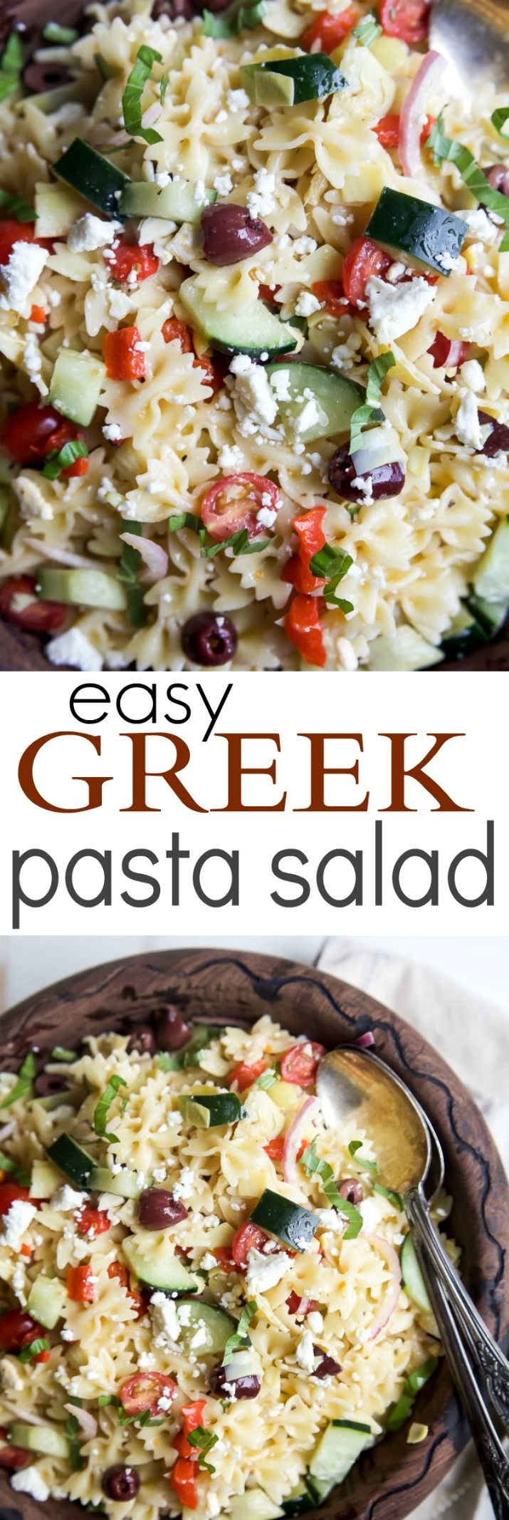 Simple Greek Pasta Salad with cherry tomatoes, artichokes, olives, red ...