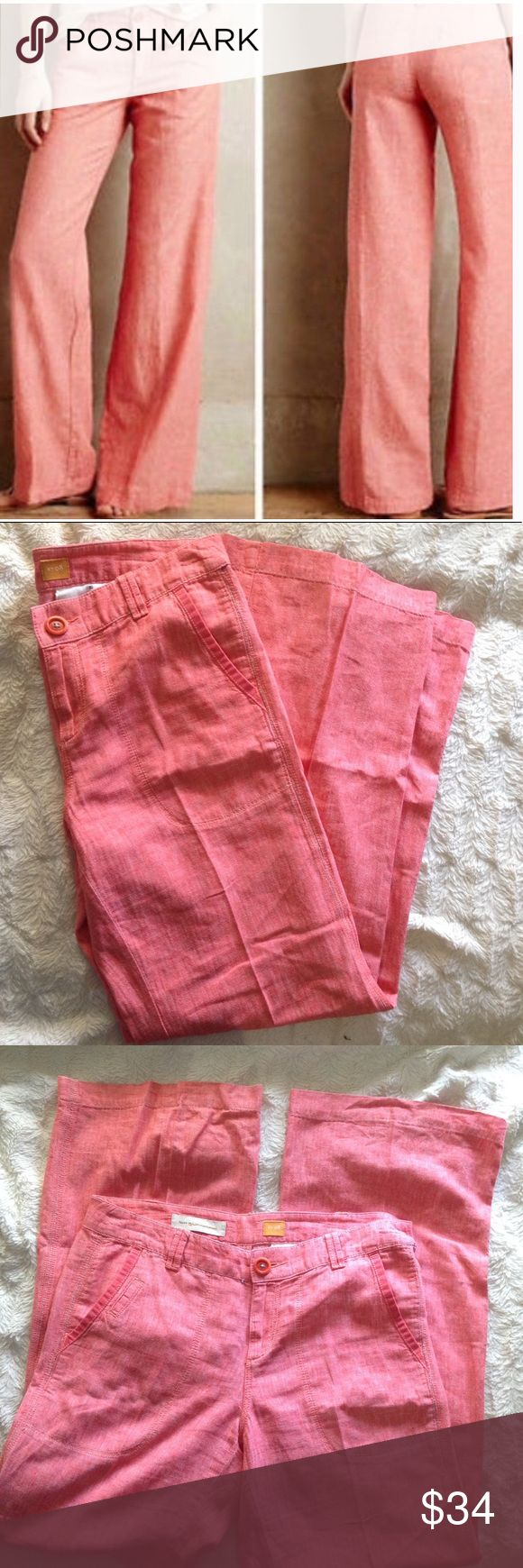 """Pilcro And The Letterpress Linen Wide Leg Pants Salmon colored Anthropologie pants that blend style and comfort! Wide leg. Hip hugger style. 55% Linen, 45% Cotton. Excellent condition - no flaws. Inseam 31"""", rise 9"""" waist laid flat 16.5"""". Anthropologie Pants Wide Leg"""