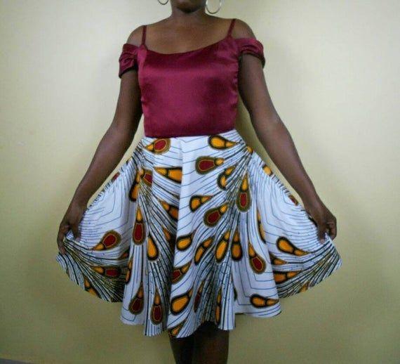 Vestido de festa com estampa africana branca para mulheres   – African print dresses