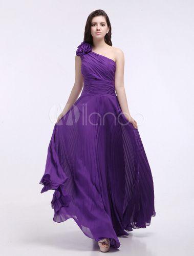 Vestido de damas de honor de chifón de color de uva de un solo hombro - Milanoo.com