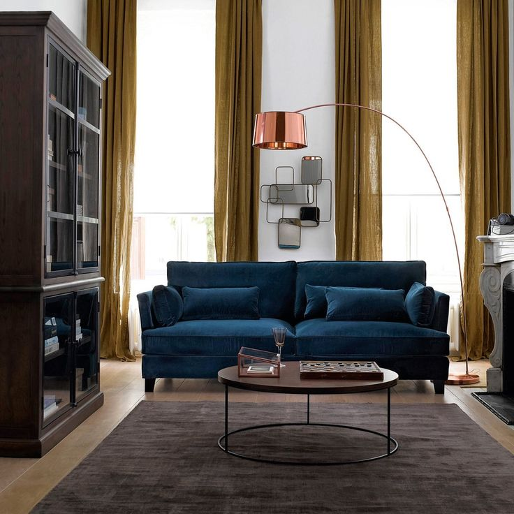 canape sacha velours bleu paon laredoute salon. Black Bedroom Furniture Sets. Home Design Ideas