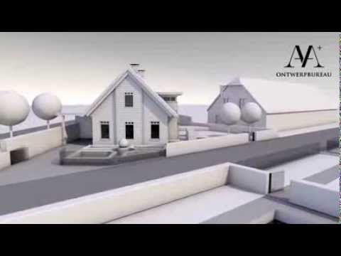 Woning met tuin aan rivier animatie