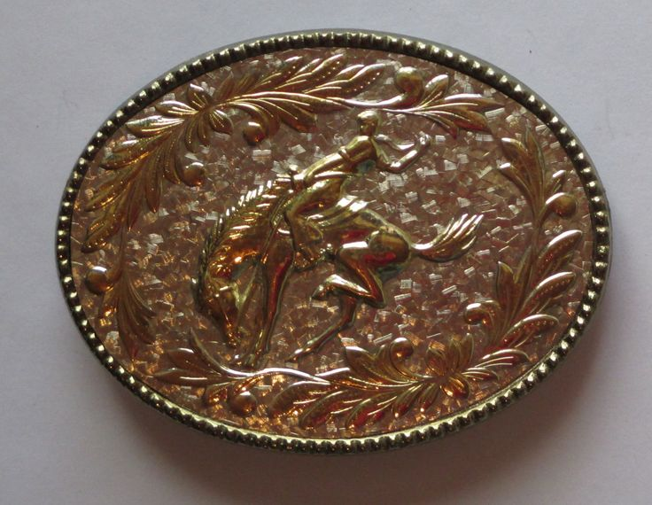 Bronc Riding Buckle, Vintage Western, Gold Tone and Silver Tone, Championship Buckle, Rodeo Competition, Southwest, Cowboy Gear by HobbitHouse on Etsy