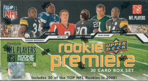 "2008 Uppper Deck Football ""2008 NFL Players Rookie Premiere"" Limited Edition Factory Sealed 30 Card Rookies Set. Loaded with Future Stars Including Darren Mcfadden, Brian Brohm, Matt Ryan, Chad Henne, Chris Long, Rashard Mendenhall, Joe Flacco, Ray Rice, John David Booty, Limas Sweed, Jake Long, Jonathan Stewart, Early Doucet Iii, Desean Jackson and Many Others!! by Upper Deck. $9.99. This is a limited edition factory sealed ""2008 NFL Players Rookie Premiere"" 30 card set from U..."
