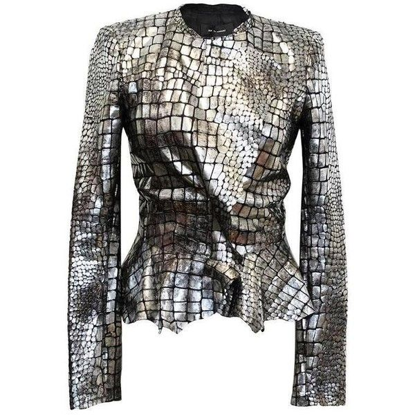 Preowned Isabel Marant Metallic Silver Leather Jacket ($1,338) ❤ liked on Polyvore featuring outerwear, jackets, black, isabel marant jacket, genuine leather jackets, isabel marant, leather jackets and real leather jackets