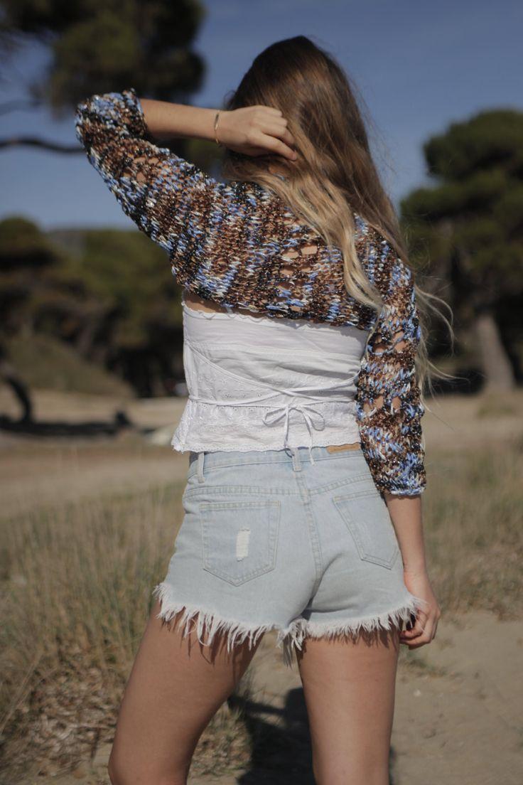 Brown blue knit shrug, lace shrug, loose weave hand knit shrug, evening shrug with silver sparkle, women's bolero, multicoloured shrug by ThreeBirdsSitting on Etsy