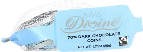 Divine Chocolate Coins - 70 Percent Dark Chocolate - Blue And Silver - 1.8 Oz - Case Of 30
