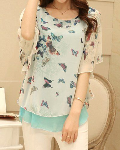 Scoop Neck Butterfly Print Stylish Chiffon Blouse For Women