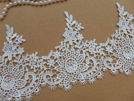 BEAUTIFUL Bridal Ivory Lace Trim, Venice Floral Lace Trim, Wedding Veils Lace Fabric Trim    This listing is for 1 yard. Width: 4.92 (12.5 cm)    Use