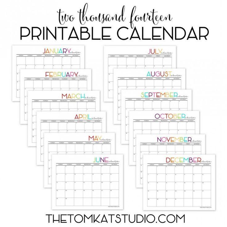 online printable calendar 2014