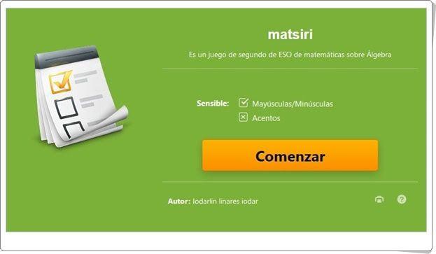 """Juegos educativos de Matemáticas online: """"Test sobre Álgebra de 2º de Secundaria"""" (Educaplay.com)"""