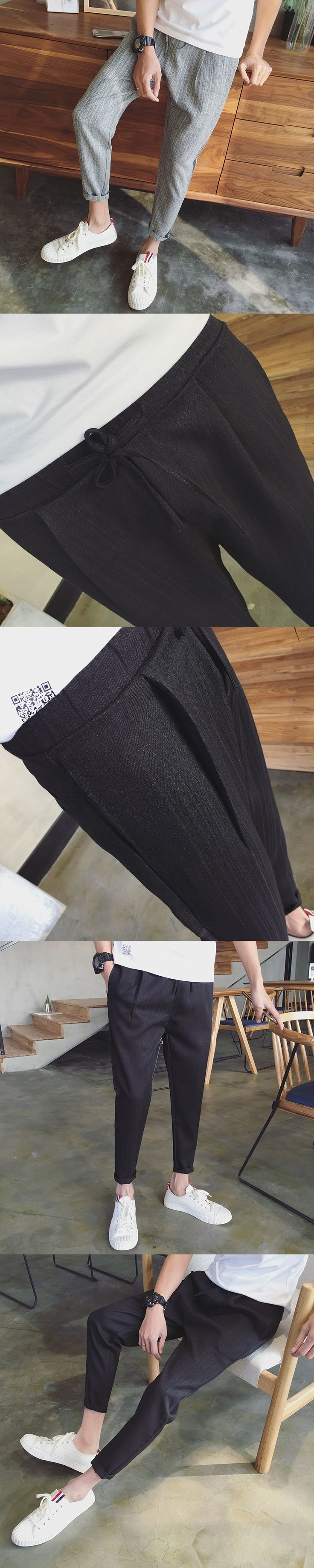 Casual  trousers men's ankle length solid color brief all-match 9 pants slim skinny pants