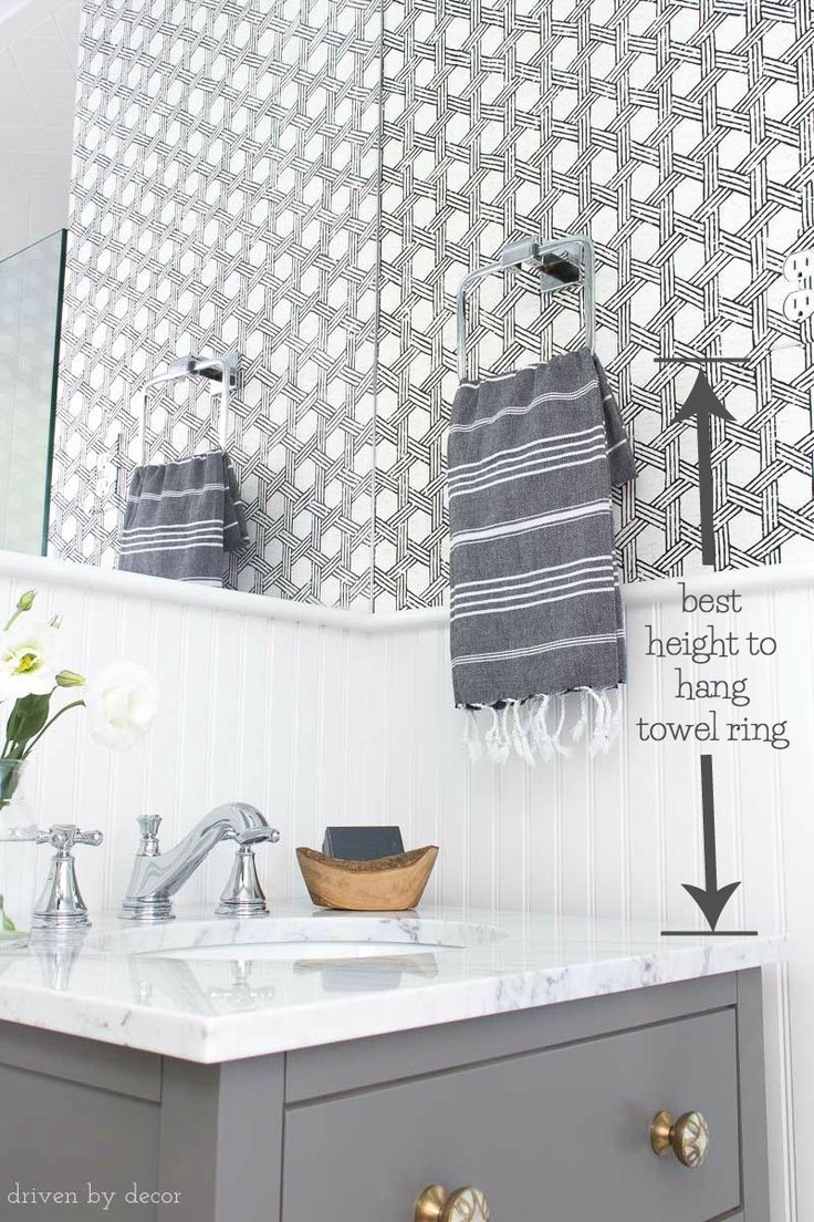 Must Have Measurements For Your Bathroom How High To Hang Your Towel Bar Sconces Toilet Paper Holder More Driven By Decor Bathroom Hand Towel Holder Hand Towels Bathroom Bathroom Towel