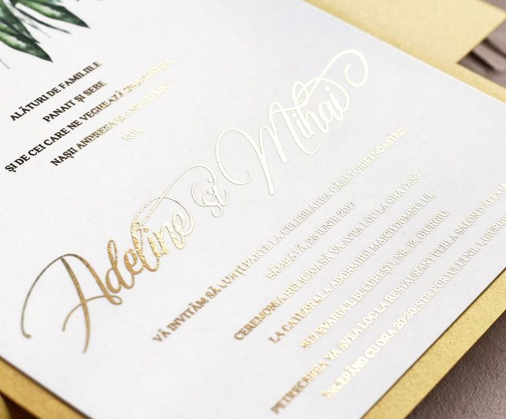© PAPIRA invitatii de nunta personalizate //In case you didn't notice, we are pretty much in love with gold foil at the moment. A detail from one of our ready to order wedding invites. // #papiradesign #papirainvitations #invitatiidenunta #invitatiinunta #weddinginvitations