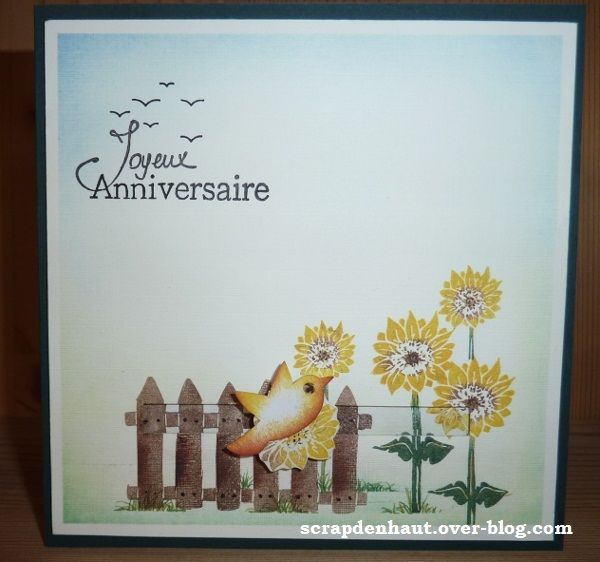 carte joyeux anniversaire, tampons jardin Azza