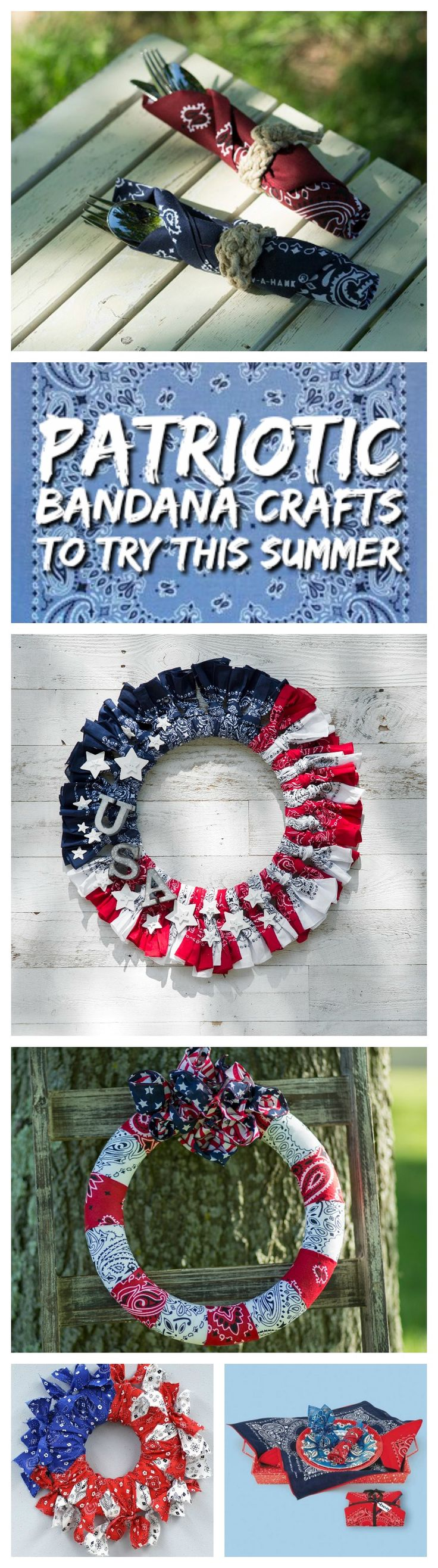 Create patriotic bandana crafts with these fun projects! Summer Crafts | Bandana Crafts | Bandana Wreath
