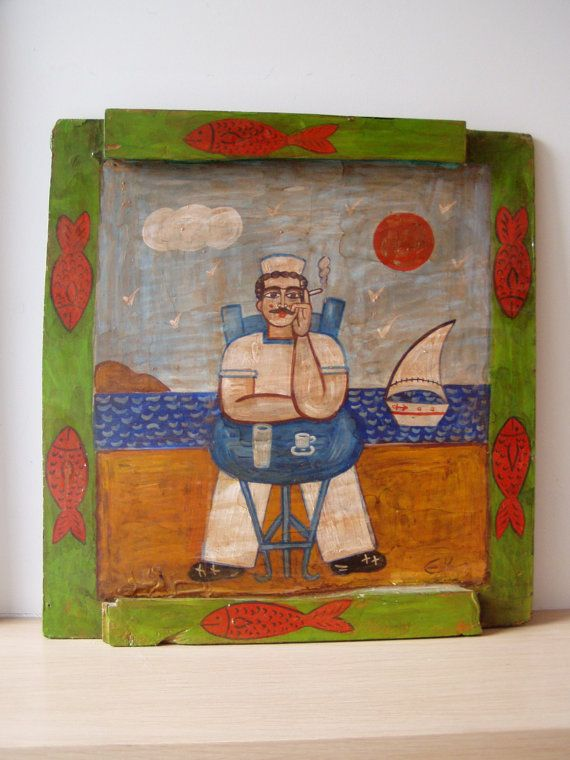 Folk painting of a sailor sitting at a cafe by AkatosCollectibles, $243.00