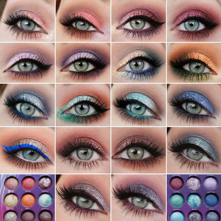 BH Cosmetics Galaxy Chic Palette - Electra (center of the lid) Makeup Geek eyeshadows: Barcelona Beach, Mocha, Houdini - Full Spectrum Eyeliner pencil - nu