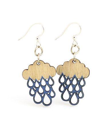Look at this #zulilyfind! Natural & Blue Rain Cloud Blossom Drop Earrings