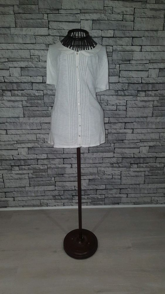 381a2f15195ca Size UK 18 White Stuff Cotton White Peter Pan Collar Preppy Button Blouse  Tshirt  fashion  clothing  shoes  accessories  womensclothing  tops (ebay  link)