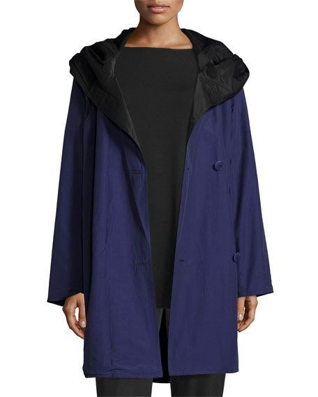 Reversible Hooded Raincoat w/ Sheen