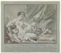 Title: L'Amour prie Venus de lui rendre ses armes. Description: Liggende naakte Venus, se reunió de pijlenkoker van Cupido en linkerhand Haar. Naast haar Cupido se reunió gevouwen handen zijn. Onder de voorstelling een tekst in het Frans. Creator: Bonnet, Louis Marin (Bonnet, Louis Marin)  Coverage: third quarter 18th century; derde kwart 18e eeuw. Date of creation:1768. Type:grabados (obras visuales); Format:papel; altura de 354 MM; ancho 410 MM; blad hoogte 354 MM; breedte blad 410 MM