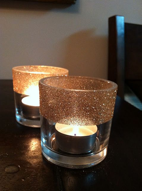 glittered glass votives.. Could be a craft or a decoration! Dollar store votives...@Heidi Kimble we would be doing this if we lived in same town with our bottle of wine of course