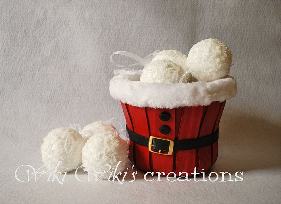 Snowball Ornaments  Pack of 4   READY TO by WikiWikisCreations, $30.00