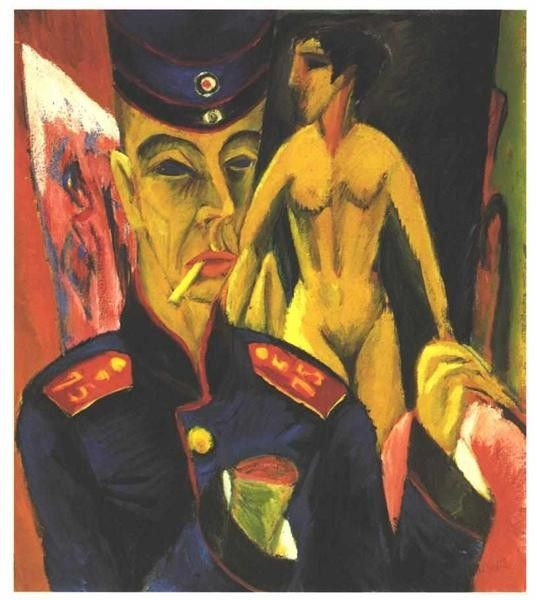 Ernst Ludwig Kirchner, Self-Portrait As A Soldier, 1915, Allen Memorial Art Museum (AMAM), Oberlin, Ohio, USA