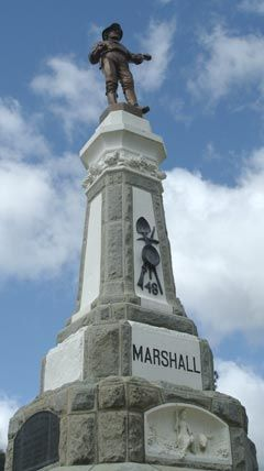monument to James Marshall in Marshall Gold Discovery State Historic Park