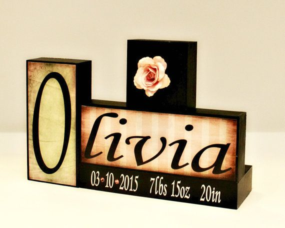 personalized baby name letter block baby birth stats new baby shower gift custom