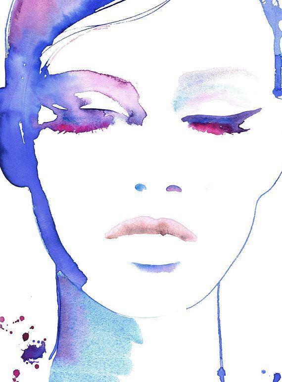 Kosmetische Illustration, Mode-Illustration, Mode-Druck, Aquarell Mode, Fashion Poster, Make-up-Illustration, Eyeliner Kunst, Cate Parr – Tami
