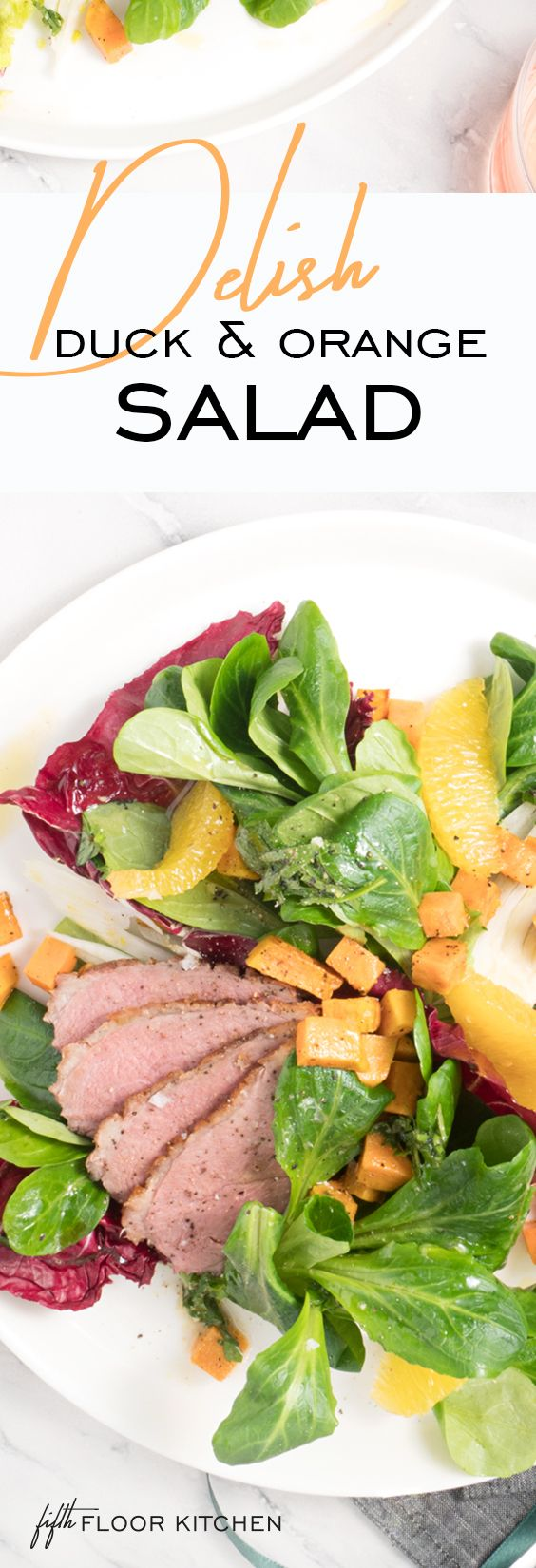 Fantastic orange winter salad with slices of cinnamon duck!