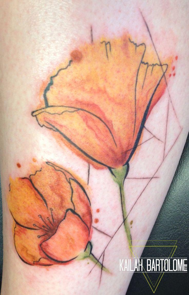 California Poppy tattoo by Kailah Bartolome