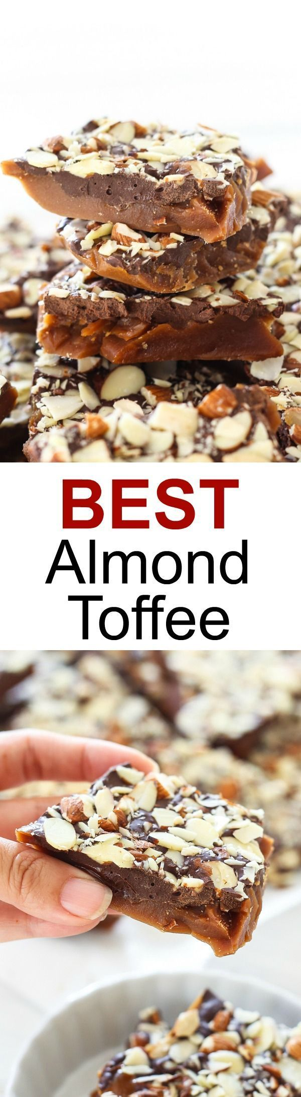 Almond Toffee – easy and the best homemade almond toffee recipe that is sweet, nutty, crunchy. Perfect candy for Christmas holidays | rasamalaysia.com