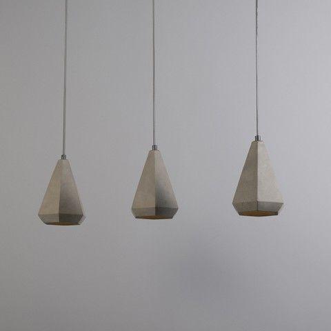 Hanglamp Hormigo Cone 3 beton - Woonkamerverlichting - Verlichting per ruimte - QAZQA.com